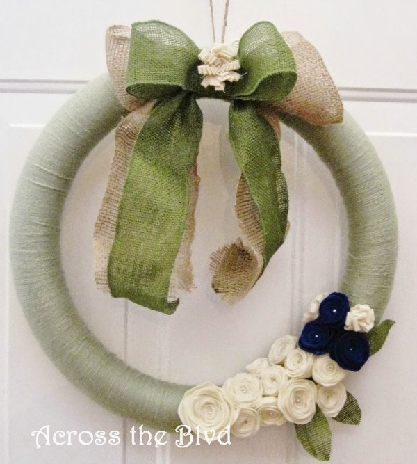 Yarn Wreath with Felt Rosettes