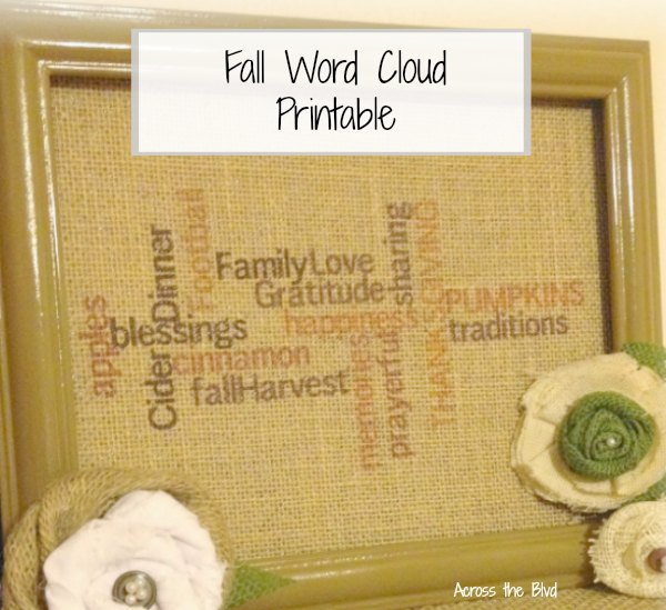 Fall Word Cloud Printable