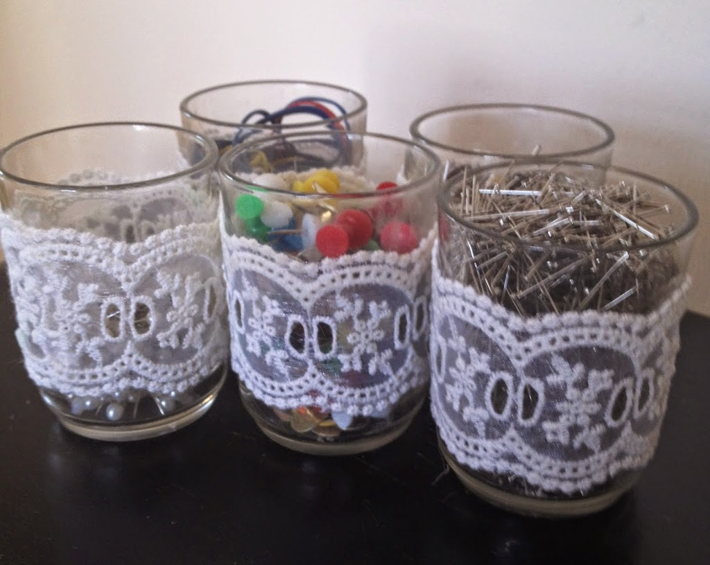 lace wrapped glass holders