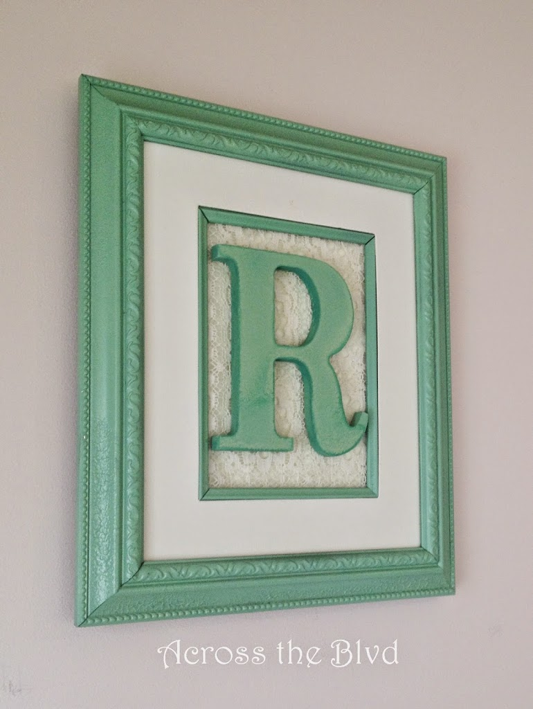 Framed Initial with lace
