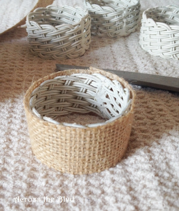 burlap covered napkin rings