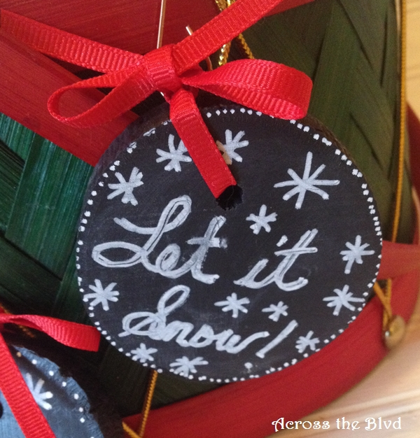 Chalkboard Painted Wood Slice Ornaments