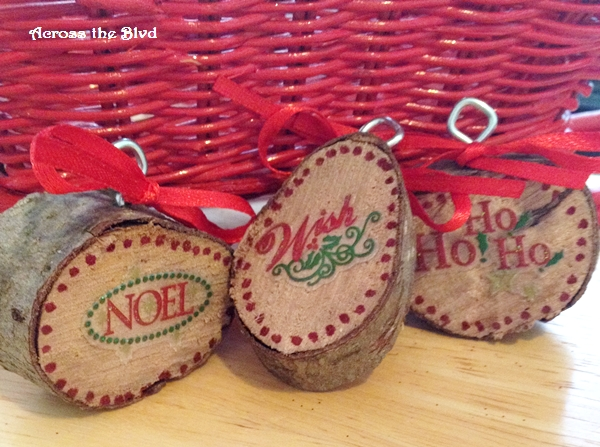 Wood Slice Christmas Ornaments Across the Blvd