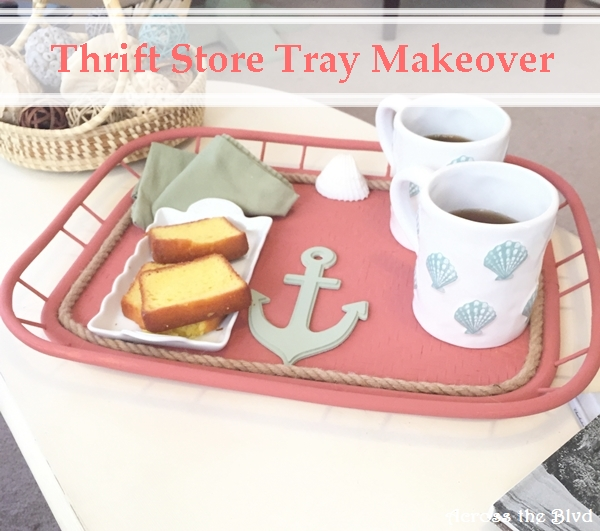 Thrift Store Tray Gets a Coastal Makeover