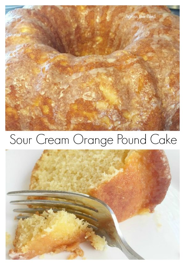 Sour Cream Orange Pound Cake with Orange Glaze sliced