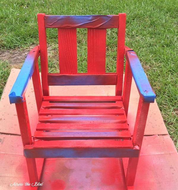 child's rocking chair with red stripes for patriotic decor