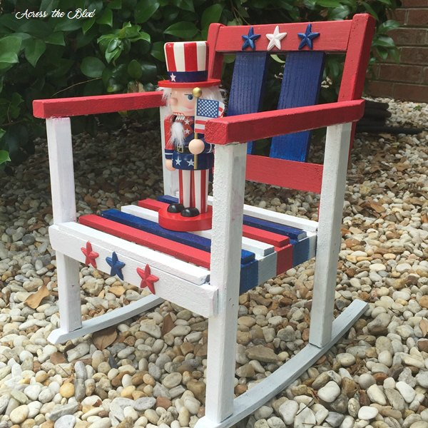 Stars and Stripes Small Rocking Chair for outdoor patriotic decor