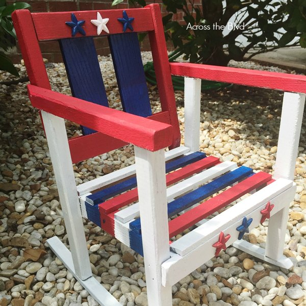 stars and stripes small rocking chair makeover with red white and blue paint