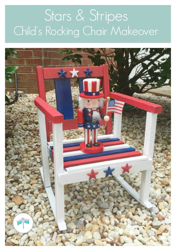 Stars and Stripes Patriotic Rocking Chair with Uncle Sam Nutcracker