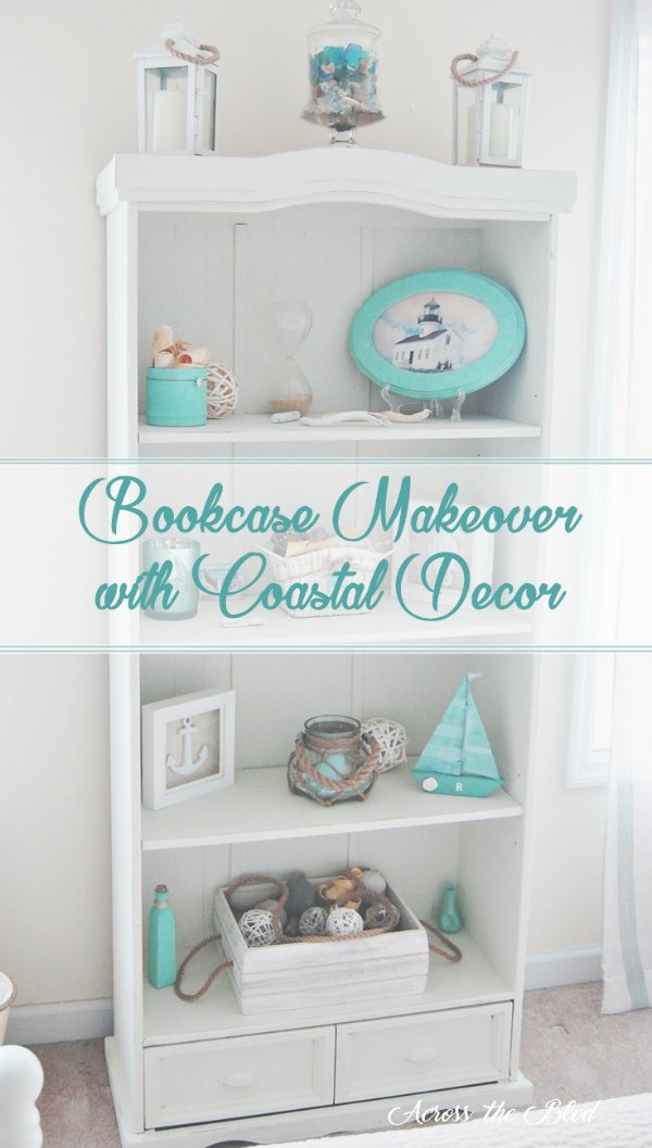 White bookcase with coastal decor pieces