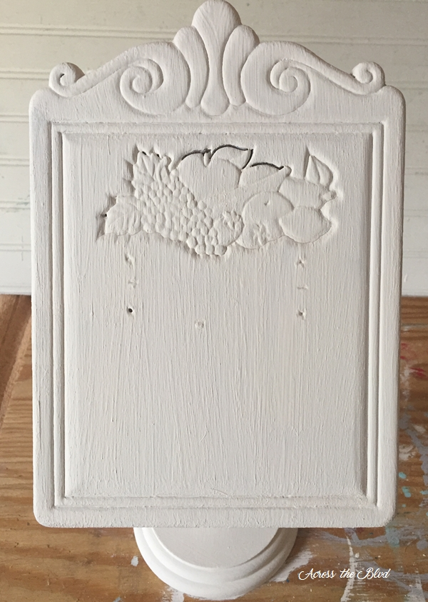 White chalk paint on recipe stand