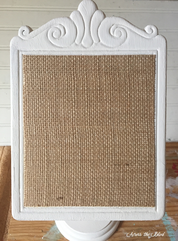 burlap on recipe stand