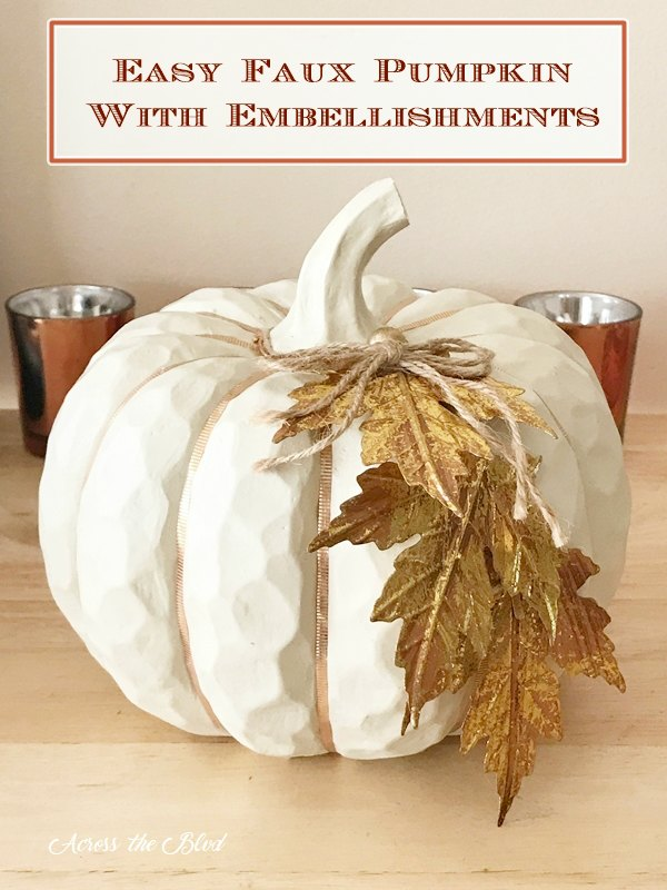 Faux White Pumpkin with copper washi tape and metal leaf
