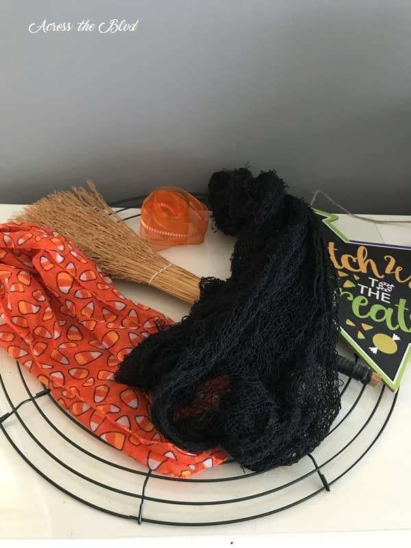 candy corn scarf and black mesh for Halloween wreath