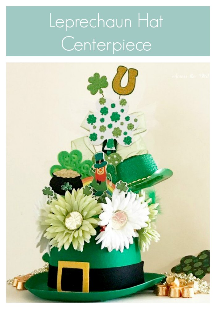 Leprechaun Hat Centerpiece for St. Patrick's Day with daisies, floral picks, shamrocks