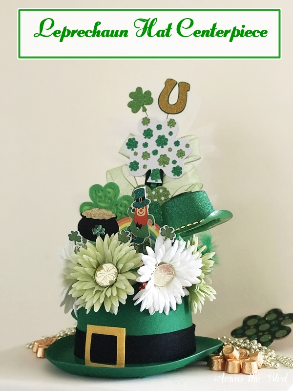 Leprechaun Hat for St. Patrick's Day Centerpiece with flowers, shamrocks, and picks