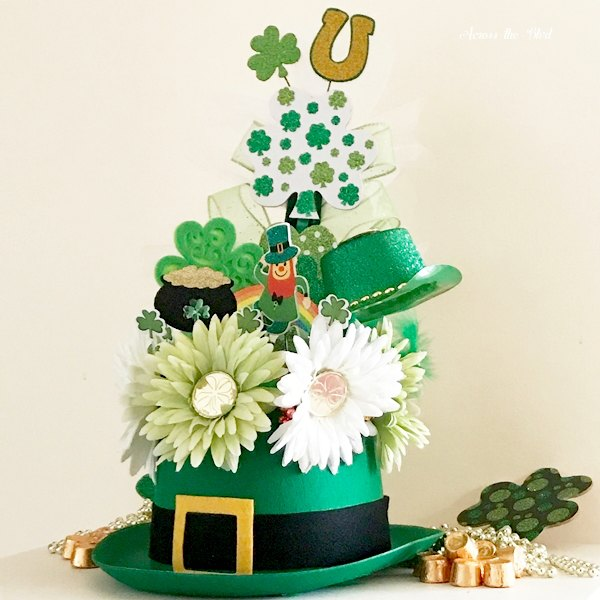 St. Patrick's Day Leprechaun Hat Centerpiece with shamrocks, floral picks, daisies