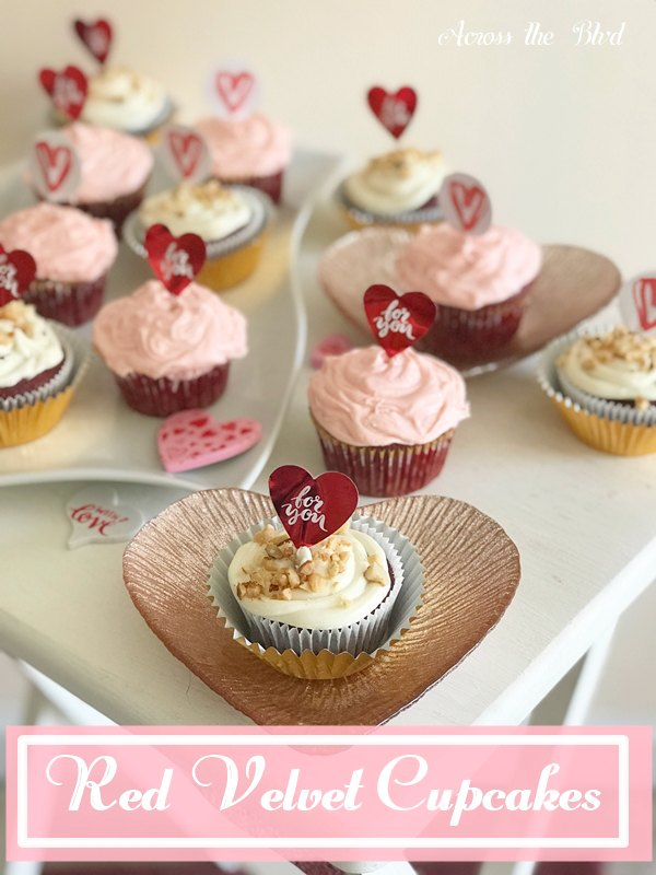 Red Velvet Cupcakes on heart plates