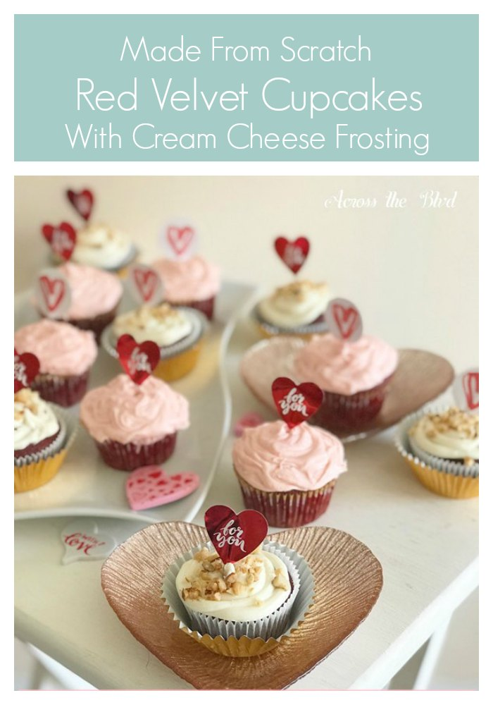 Red Velvet Cupcakes with Cream Cheese Frosting with Heart Pick Toppers