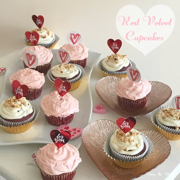 Red Velvet Cupcakes on heart plates with heart toppers