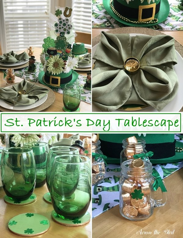 St. Patrick's Day Tablescape with Napkin Fold & DIY Coasters