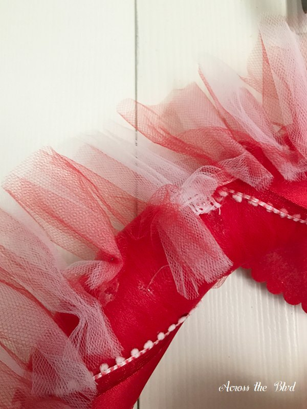 Red and White Tulle on Valentine's Day Wreath