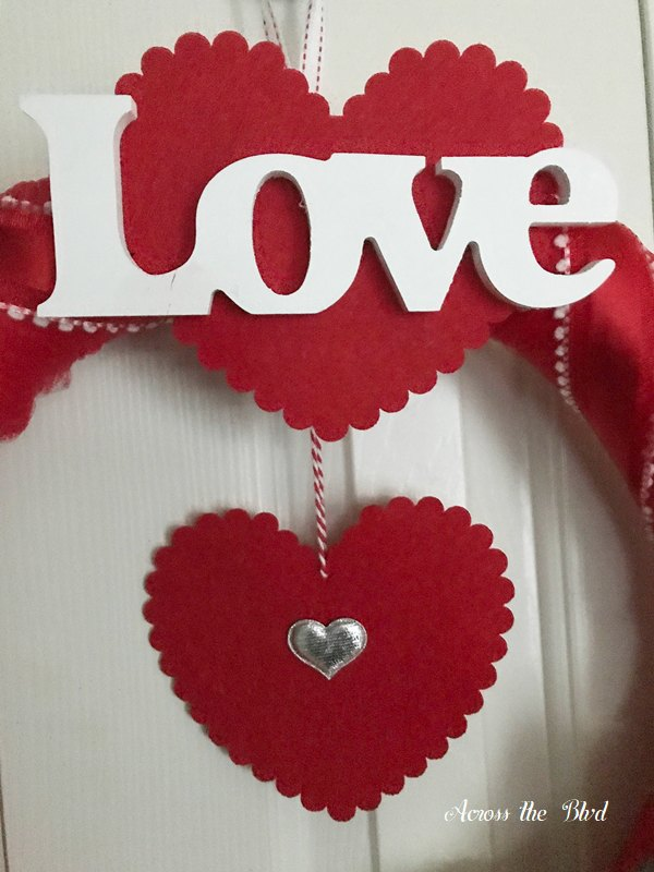 Wood Love sign on Valentine's Day Wreath