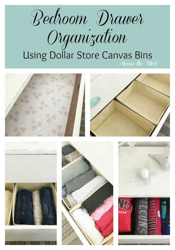 Bedroom Drawer Organization Using Dollar Store Canvas Bins Across the Blvd