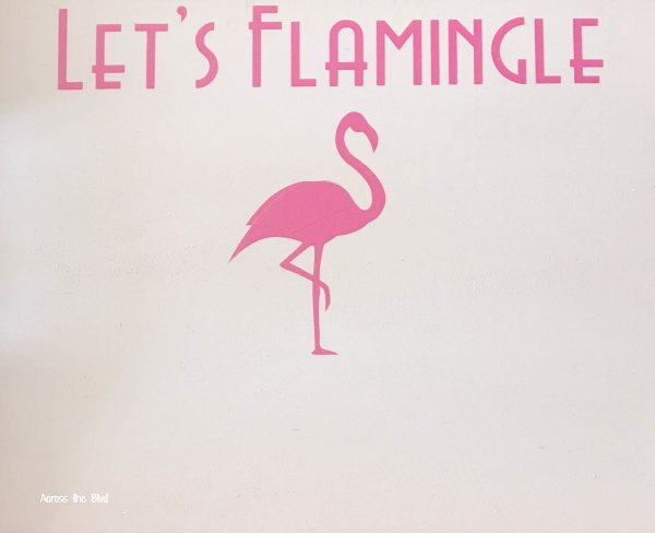 Let's Flamingle Party Tray Makeover text on tray