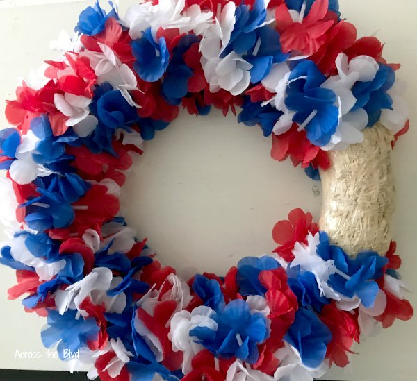 Patriotic Wreath using dollar store supplies