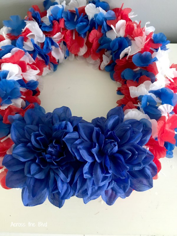 Patriotic Wreath with leis and flowers