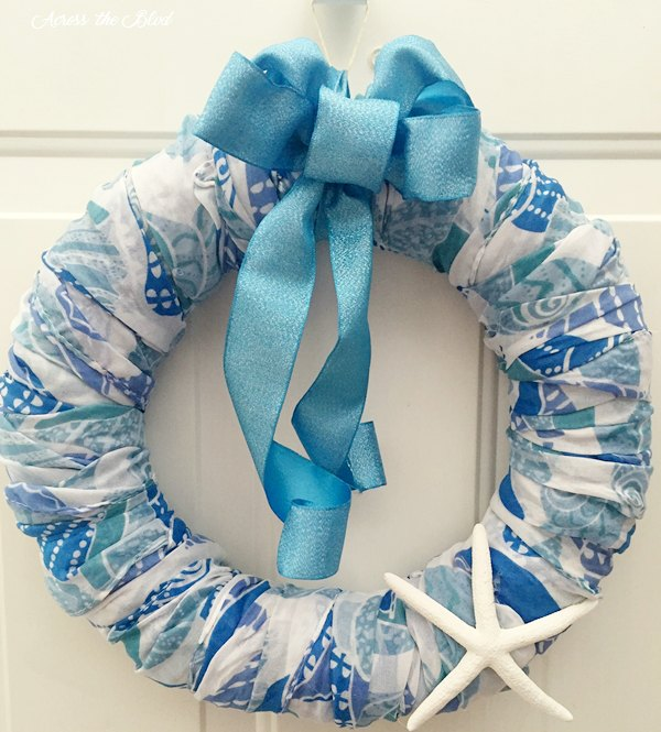 Coastal Wreath Made with Dollar Store Scarves