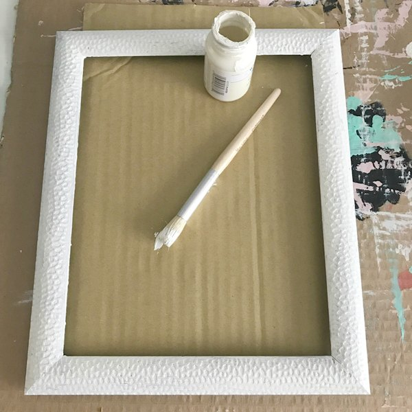 frame painted white for hello summer sign