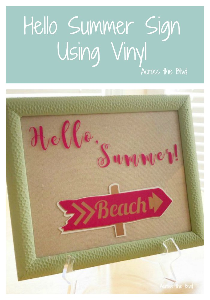 Hello Summer Sign Wall Art Using Vinyl #summerdecor #cricut #vinyl