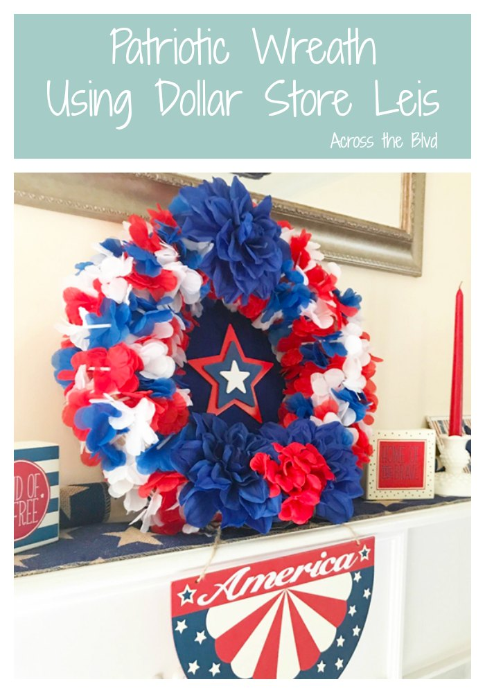 Patriotic Wreath using Dollar Store Leis sitting on mantel