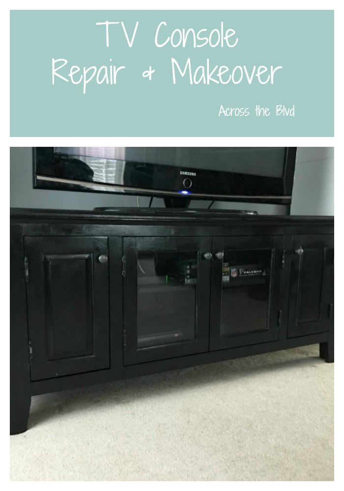 TV Console Repair and Makeover #furnituremakeover