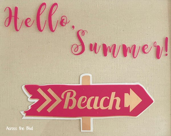 hello summer sign vinyl on glass