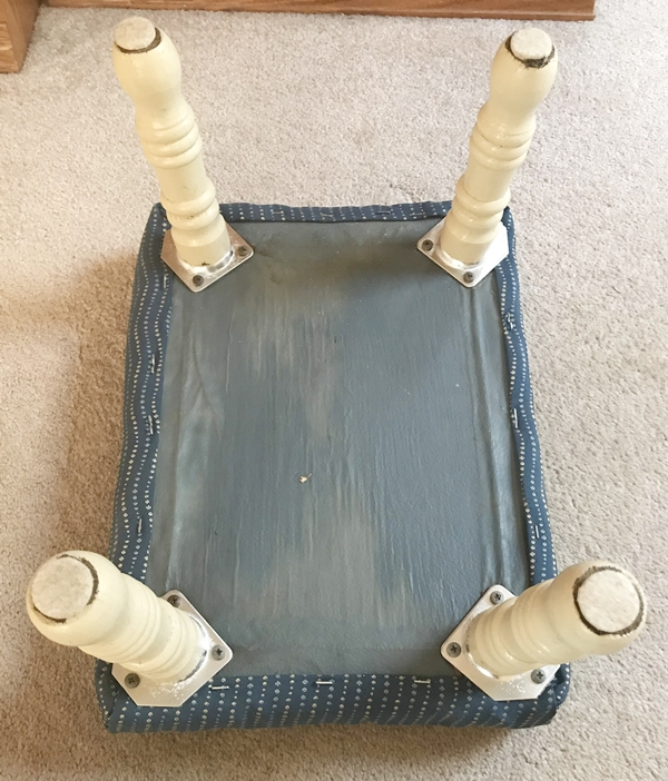 Footstool Makeover with Paint and Fabric before leg photo