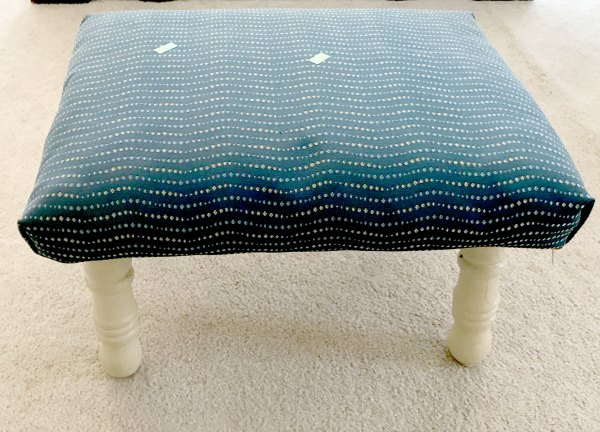 Footstool Makeover with Paint and Fabric Before Picture