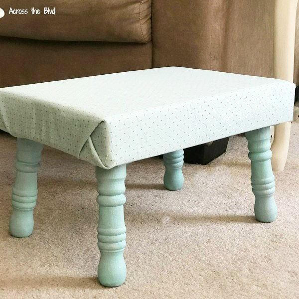 Footstool Makeover with Paint and Fabric