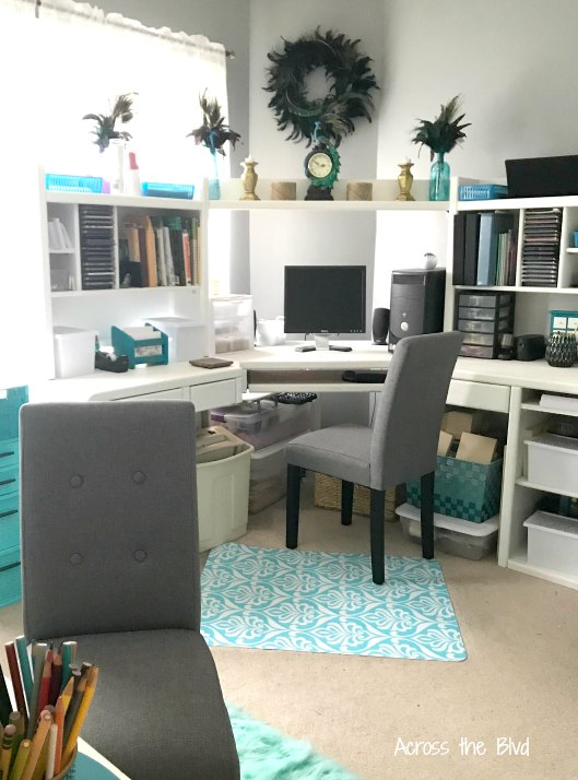 Office and Craft Room with Gray Parsons Chairs