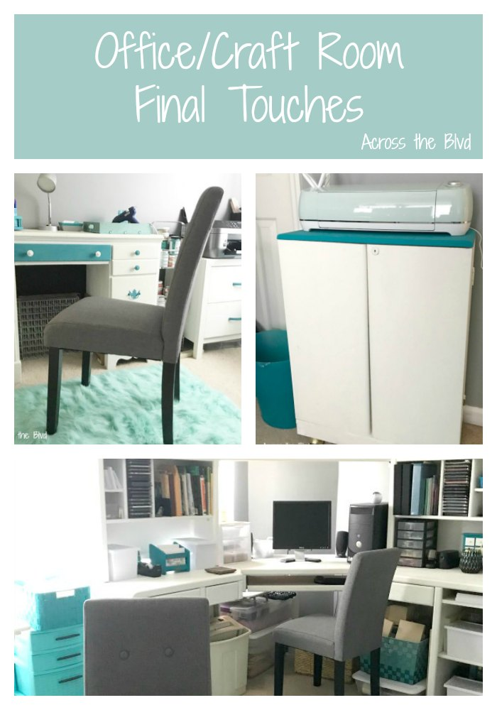 Office Craft Room Final Touches with gray chairs and furniture makeovers