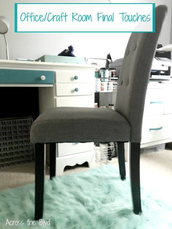 Gray Chair in Office Craft Room for final touches