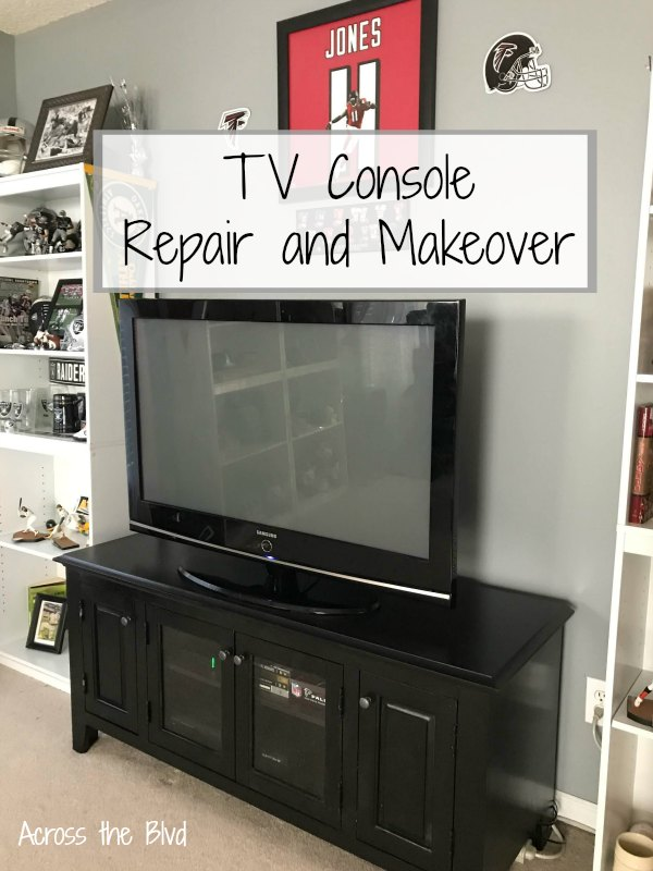TV Console Repair and Makeover Painted Black