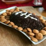 Game Day Food Ideas Cream Cheese Chocolate Chip Dip in the shape of a football