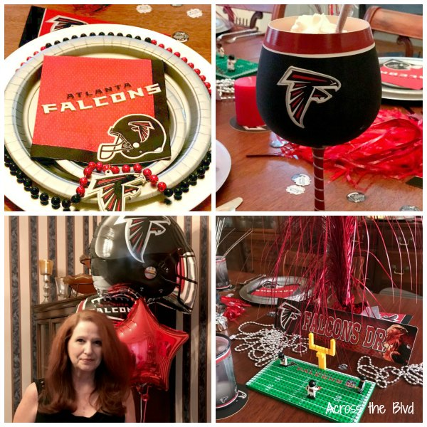 The Start of Football Season Brings Memories and Fun | collage photo of falcon's themed party decor