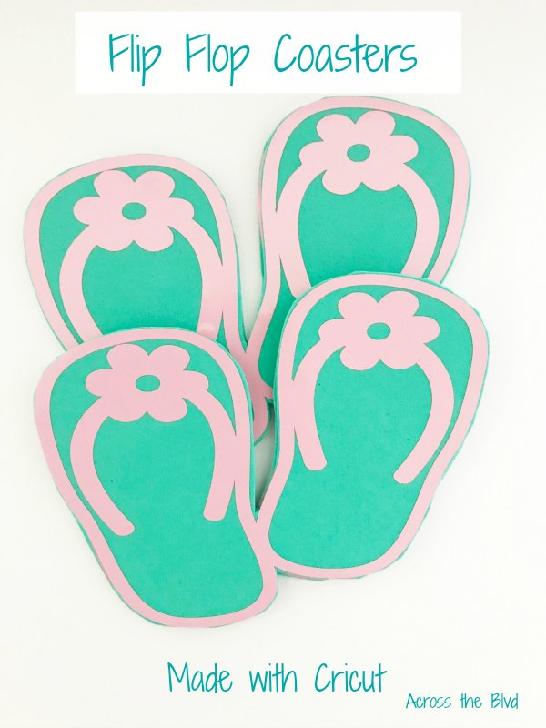 Flip Flop Coasters for a summer party in teal and pink