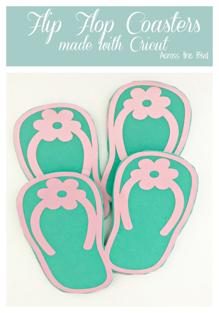 Teal and Pink Flip Flop Coasters made using a Cricut