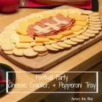 Football Party Cheese, Crackers Tray with Pepperoni on Wood Tray