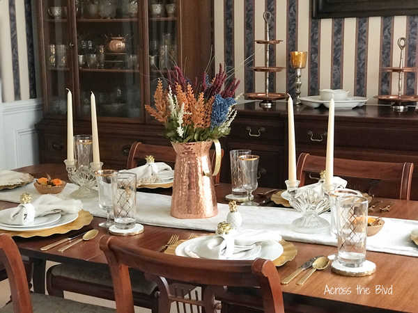 Late Summer Tablescape with copper pitcher and gold accents